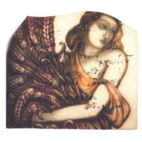 Emilio Villa,  s.d.,  testo manoscritto a pennarello su frammento di vetro dipinto 29 x 33 cm Courtesy Fondazione Baruchello, Roma, Fondo Emilio Villa