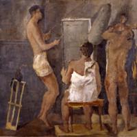 Fausto Pirandello, Palestra (Bagnanti), 1934-1935, olio su compensato, Galleria d'Arte Moderna di Roma Capitale